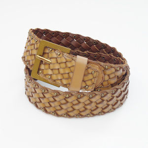 Cabi Leather Woven Brown Waist Belt Studded